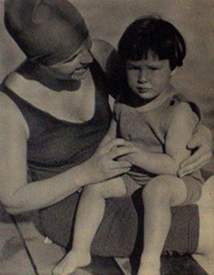 "<em>Marie Rapp Boursault and Daughter - Yvonne<br />Marie Boursault, Age 2, Lake George</em>, 1923<br />Gelatin silver print<br />Image: 4 1/8 x 3 15/16""; Paper: 4 1/8 x 3 15/16"";<br />Mount (1): 4 1/8 x 3 15/16""; Mount (2): 11 x 8 1/2"""