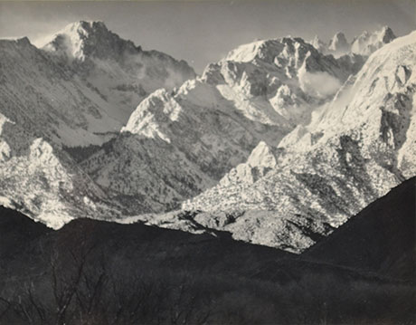 """<em>Mountains and Snow</em>, 1945<br>Ferrotyped gelatin silver print, Holiday Card</br>Image: 3 3/4 x 5""""; Mount: 4 1/4 x 10"""""""