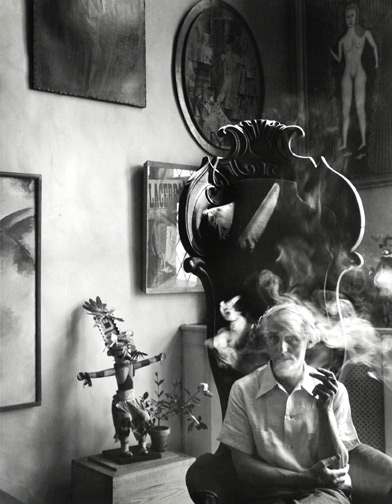 """<em>Max Ernst,</em>1942<br>Gelatin silver print<br />Image: 12 1/2 x 9 3/4""""; Paper: 13 15/16 x 11"""""""