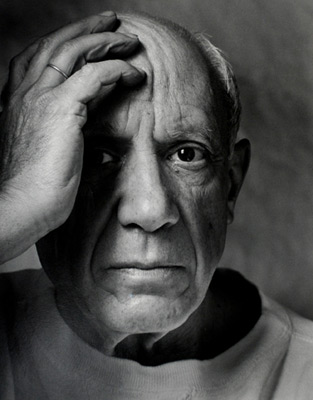 "<em>Picasso,</em>1954<br />Gelatin silver print<br />Image: 18 1/2 x 14 3/16""; Paper: 19 7/8 x 15 7/8""; Mount: 24 1/16 x 20"""
