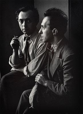 "<em>Moses Soyer and Raphael Soyer</em>, 1942<br>Gelatin silver print</br>Image: 9 1/2 x 6 7/8""; Mount: 17 x 14"""