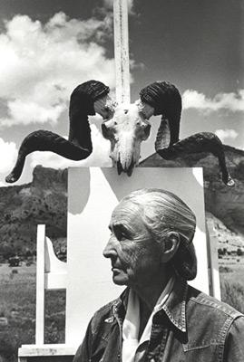 """<em>Georgia O'Keeffe, Ghost Ranch, New Mexico,</em>1968<br />Gelatin silver print<br />Image: 12 7/8 x 8 5/8""""; Paper: 13 7/8 x 10 7/8"""""""