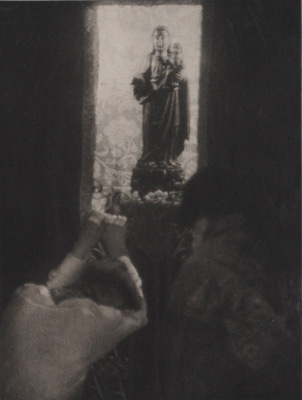 "<em>Untitled (Two people bowing before a statue of a Madonna and child),</em> nd<br />Photogravure<br />Image: 8 x 6"""" Paper: 10 x 7 1/2"""