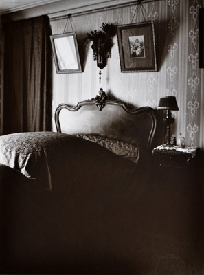 """<em>Interieur de Mme D., petite rentiere, Boulevard du Port Royal</em>, 1911-1914, printed later by Berenice Abbott<br>Gelatin silver print</br>Image: 9 x 6 3/4""""; Mount: 13 x 10"""""""