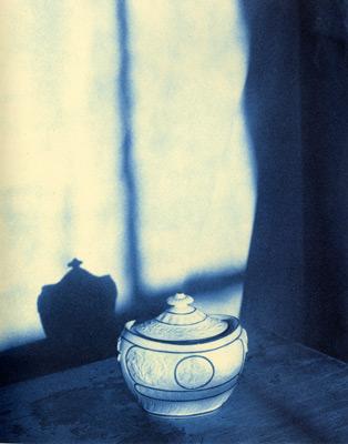 """<em>John Dugdale Castleford Sugar Bowl, 1820,</em>1996<br />Cyanotype<br />Image: 8 x 10""""; Mount: 14 x 17""""<br />"""