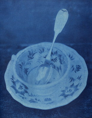 "<em>Anne's Teaspoon,</em>1993<br />Cyanotype<br />Image: 9 x 7""; Paper: 8 x 10""<br />"