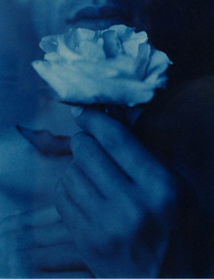 "<em>Ling'ring Near the Rose,</em>1988<br />Cyanotype<br />Image: 11 x 14""<br />"
