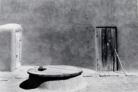 "<em>Patio in Sunlight, O'Keeffe, Abiqiui, New Mexico,</em>1980<br />Gelatin silver print<br />Image: 8 15/16 x 13 7/16""; Mount: 15 x 19""<br>Sold"