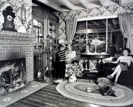 "<em>Living Room on the Tracks, Lithia, Virginia,</em>1955<br />Gelatin silver print<br />Image: 15 9/16 x 193/8""; Paper: 16 x 20"""