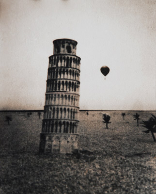 "<em>Expeditions (Pisa with Balloon)</em>, 1979<br />Gelatin silver print, toned<br />Image: 4 1/2 x 3 3/4""; Paper: 5 1/2 x 4 1/2"";<br />Mount: 11 x 14"""