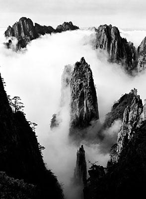"""Wang Wusheng<br><em>Mt. Huangshan (21)</em>, 1991</br>Gelatin silver print<br>Frame: 69 x 51 1/2"""""""